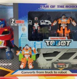 Huge Tobot car transporter transformer and 2 tobot