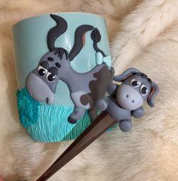 Gift Mug Donkey Spoon Clay
