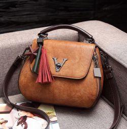 Kadın crossbody çanta, eko deri, kahverengi, yeni