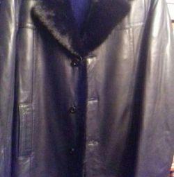 Palton de piele pentru bărbați cu guler nock.