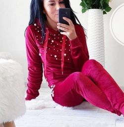 Stylish velor suit red