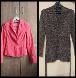 Jacket and sweater knitted