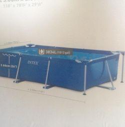 Pool Intex 3x2 meters, on the frame, height 75 cm