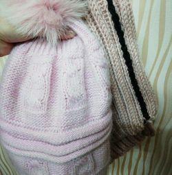 Шапка ангорка+шарфик,мех натуральный