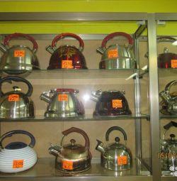 Paslanmaz çelik, 490 ovmak gelen çaydanlıklar.