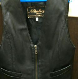 Vest, skirt, genuine leather