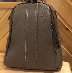 Новий сірий рюкзак з натуральної шкіри