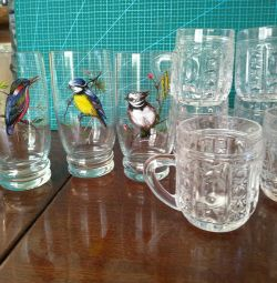 Glasses from Bohemian glass ,, birds of paradise ,, crunch