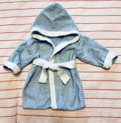 Terry bathrobe (new) for baby 3-6 months