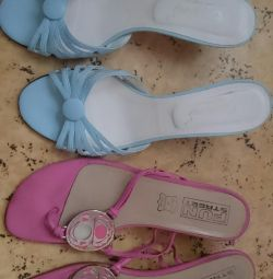Slippers on a heel leather
