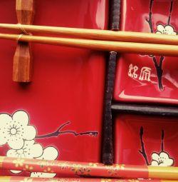 Sakura on Red Sushi Set, 10 pieces