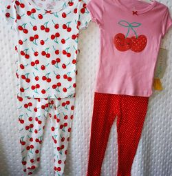 Set pentru pantaloni fete și tricouri Cherry