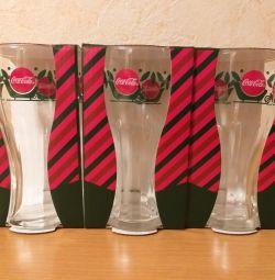 Glasses Coca-Cola New. The design is different