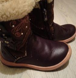 Παιδικές μπότες. Δέρμα Φυσική γούνα