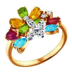 Φωτεινό χρυσό δαχτυλίδι με πεταλούδα