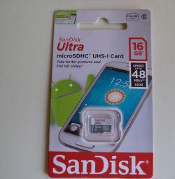 Κάρτα μνήμης Sandisk MicroSD 16 GB