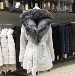 New beaver fur coat with mink, silver fox