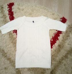 Pulover alb bluza maneca 3/4 dimensiune. 40-42