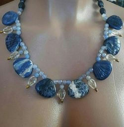 Necklace and earrings from natural lapis lazuli
