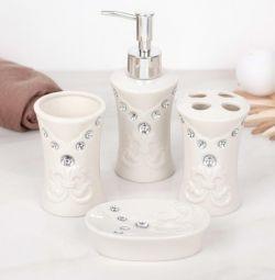 Set of bathroom accessories, 4 items