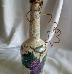 Sticlă de viță de vie Decoupage