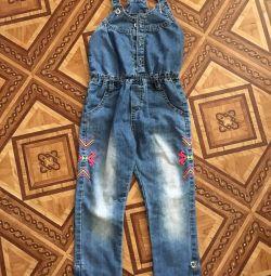 Denim cotton overalls