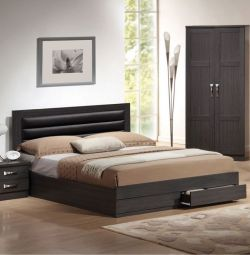 Zebrano Bed with 2 Drawers and PU Coffee in K
