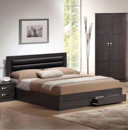 Кровать Zebrano с 2 ящиками и кофе PU в K