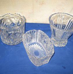Crystal. Vase. Salad bowls.