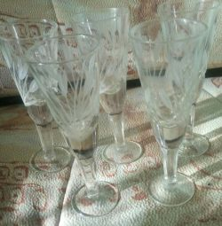 Tall wine glasses new Soviet glass