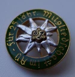 Знак 25-летия членства в D. A. V. 3-й рейх Германи