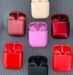 Beige red air pods