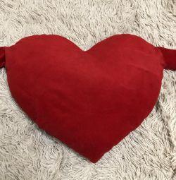 Мягкое плюшевое сердечко подушка