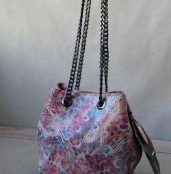 Νέα ροζ γνήσια δερμάτινη τσάντα