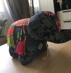 Toy elephant, hand made, Thailand