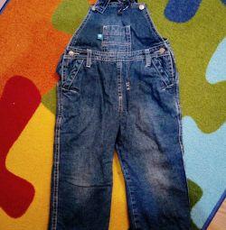 Denim fleece bib overall, 92-98cm and pants