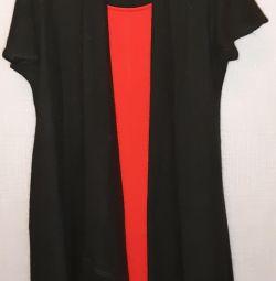 Червона сукня і чeрний кардиган 48-50