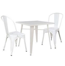 SET 3MM TABLE MILK WHITE MAT & СТУЛЬЯ MELITA