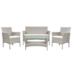 SET LOUNGE 4TM GRAY RATTAN HM5290.02 С ПОДУШКАМИ