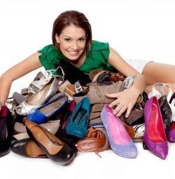 Resturile pantofilor de piele pentru femei