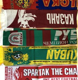 Soccer scarves, new, knitted