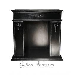 False fireplace with stucco molding. The black