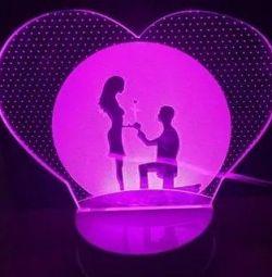 Lamp 3D (night light) Lovers free. dost