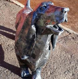 Metal Sculpture Dog