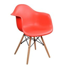 ARMCHAIR WITH WOODEN FOOT & SEAT RED MIRTO