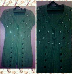 Cardigan with large sewn rhinestones
