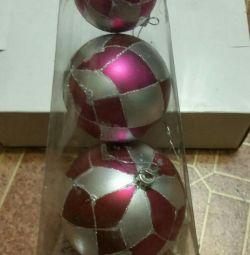 Bile de Crăciun, din plastic 3pcs