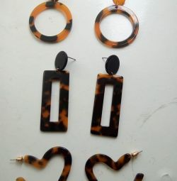 Серьги- гвоздики с леопардовым принтом
