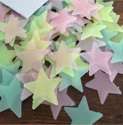 Duvardaki çıkartmalar-yıldız (ışıldayan). Yenileri.