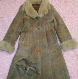 Genuine laser-coated sheepskin coat